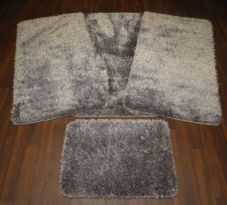 ROMANY GYPSY WASHABLES SPARKLY DESIGNS SETS OF 4PC MATS NEW GREY/SILVER NON SLIP